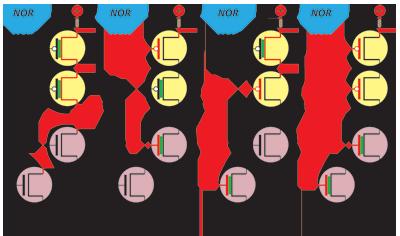 Porta NOR construída com transístores CMOS