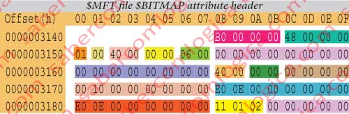 Figure 12.24 - Hexadecimal editor representation of the non resident and no named $BITMAP attribute header detail.