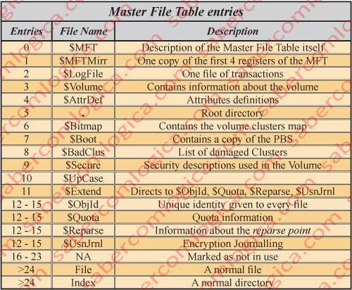 Figure 12.6 - Table with the Master File Table Entries.