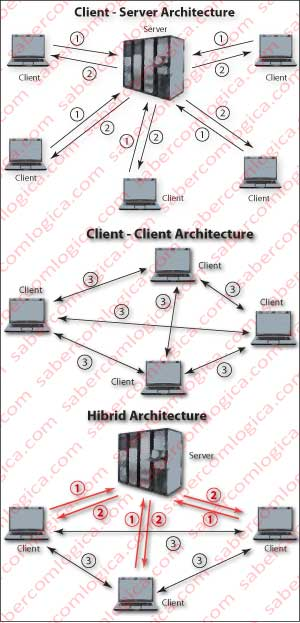 Graphic representation of the different connection architectures.
