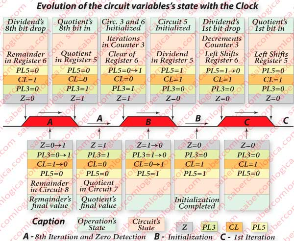 Figure 6-5 - Evolution of the variables and of the circuit states from the clock rising edge of the Zero detection cycle until the clock failing edge of the 1st iteration cycle